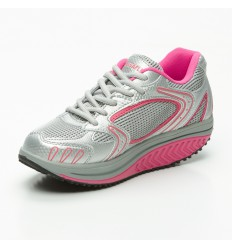 Basket Balancing Shoes - semelle Marche Active - Girly Shoes (tissus gris et rose)